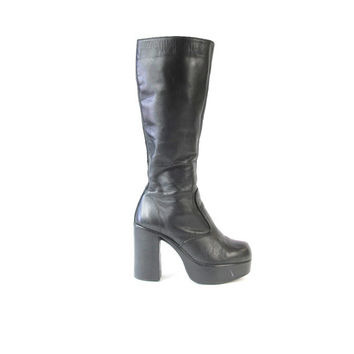 Vintage 90s Black Leather Platform Boots Black Knee High Boots Disco Goth Grunge 70s Style Platform Tall Boots Chunky Heel Boots Size 7