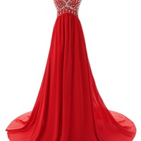 Dressystar Long Sweetheart Bridesmaid Prom Dresses Chiffon Evening Gowns Size 26W Red