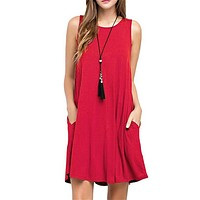Women'S Solid Color Round Neck Vest Sleeveless Dress