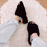 UGG all-match plush slippers for men and women-1