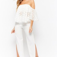 Sheer Polka Dot Off-The-Shoulder Top