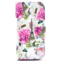 Leather Eiffel Tower Flip Case Stand Cover For iphone 5c With Card Holder