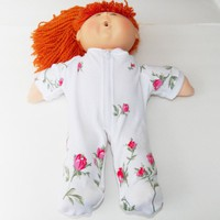 Cabbage Patch Clothes- fits 16 inch girl kids doll- pajamas pjs sleeper- 'Emma in Roses'