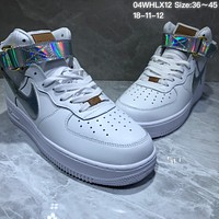 DCCK N787 Nike Air Force 1 AF1 High Reithofer chameleon Leather Skate Shoes White