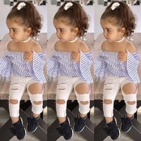 US 2PCS Toddler Kids Baby Girls Summer Clothes Striped Tops+Ripped Pants Outfits