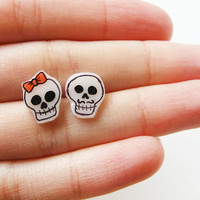 Skull earrings, Day of the Dead jewelry