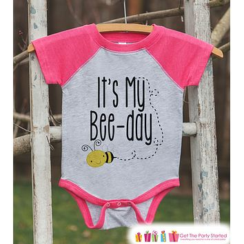 Kids Birthday Shirt - Bee It's My Bee-Day Shirt or Onepiece - Baby Girl, Youth, Toddler, Birthday Outfit - Pink Baseball Tee