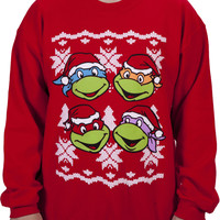 Faces Ninja Turtle Faux Christmas Sweater