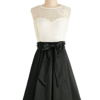 ModCloth Mid-length Sleeveless Fit & Flare Nuanced Narrator Dress in Black