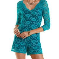 Teal Contrast-Lined Lace Romper by Charlotte Russe