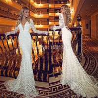 Best Selling Floor Length Sash Lace  Plunging Wedding Gowns Long Sexy Backless Long Sleeves Lace Mermaid Wedding Dresses  HY247