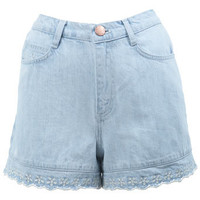 High Waist Scallop Hem Short