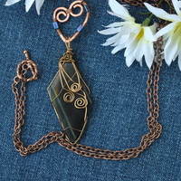 Blue tiger eye pendant necklace; wire wrapped stone; wire wrapped tiger eye necklace; statement pendant; copper necklace; mixed metals