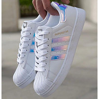 Adidas Women Fashion Reflective Flats Sneakers Sport Shoes