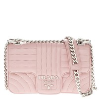 Prada Women's Diagramme Leather Should Bag Pink