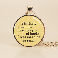 Lemony Snicket Book Quote Charm Necklace