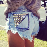 SALE Customize Studded High Waisted Shorts