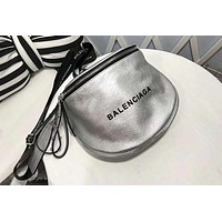 Balenciaga Classic Fashion Women Personality Leather Shoulder Bag Crossbody Satchel Silvery