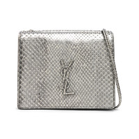 Saint Laurent Python Embossed Vintage YSL Monogramme Bag in Anthracite & Black | FWRD