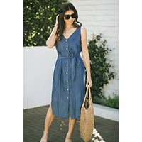 Gloria Denim Sleeveless Midi Dress