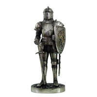 MEDIEVAL KNIGHT 7 TALL FORT KEEP SENTRY GUARD STATUE FIGURINE SUIT OF ARMOR FREE GIFT OF PENDANT