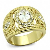 Esme's Antique Inspired Gold Plated Stainless Steel Cubic Zirconia Ring