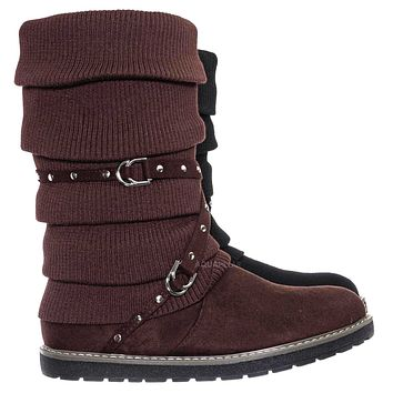 Warm60 Metal Stud Belted Knit Boot - Faux Fur Lined Calf Height Flat Winter Shoe