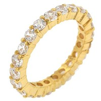 Elizabeth Clear Eternity Stackable Gold Ring   4ct   18k Gold   Sterling Silver