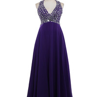 Chiffon PROM gown v-neck crystal beads women formal party dress