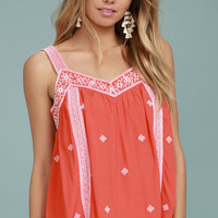 Moon River Day Trip Coral Orange Embroidered Sleeveless Top