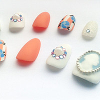 Victorian Cameo Round Fake Nails, Hand Painted Oval False Nails, Handpainted Artificial Nail Set, Matte Nail Art Design