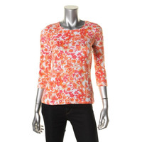 Charter Club Womens Petites Pima Cotton Floral Print Knit Top
