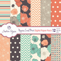 Digital Floral Paper Pack, Coral Navy Mint Poppies