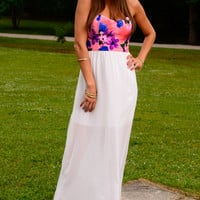 Back Me Up Maxi Dress, Coral/White