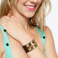 Studded Leather Buckle Up Bracelet