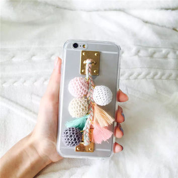 Korea Colorful Winter FurBall Tassel Phone Case Soft Tpu Silicone Case for Iphone 7 7plus 6 6s 6plus Transparent Back Cover Case