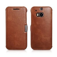 Moon Monkey Luxury Business Genuine Leather Folio Protective Case Wallet Design for HTC One M8 Magnet Adsorption (MM364) (Brown)