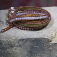 Pink and Brown Mix Wrap Bracelet