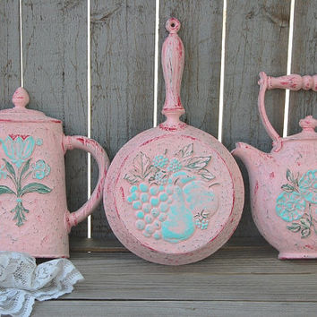 Kitchen Decor, Shabby Chic, Retro, Pink, Mint Green, Upcycled Vintage, Hand Painted, Homco, Distressed