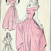 """1940s Teen Evening Gown, Off the Shoulder, Prom Dress, Bridesmaid Dress, Vintage Sewing Pattern, Advance 4638 bust 30"""""""