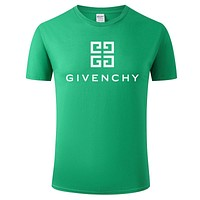Givenchy Tide brand solid color letter printing men and women casual round neck half sleeve shirt green