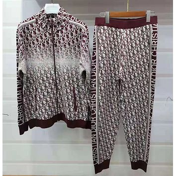 Dior Woman Fashion Cardigan Jacket Coat Pants Trousers Set Two Piece Red/white