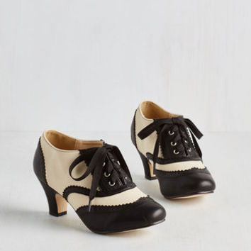 Vintage Inspired, 20s, Scholastic Dance it Up Heel in Black and Ivory by ModCloth