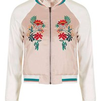 **Embroidered Contrast Bomber Jacket by Glamorous Petites - New In