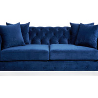 Maria Tufted Velvet Sofa, Blue, Sofas & Loveseats