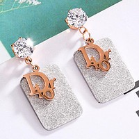 DIOR Newest Stylish Women Chic Shiny Diamond Earrings Jewelry Accessories