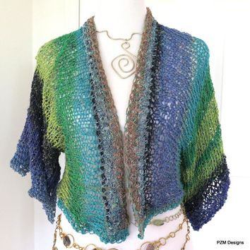 Hand Knit Summer Shrug, Multi Color Cotton and Silk Blend Sweater Shrug