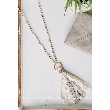 You're a Charmer Snakeskin Tassel Necklace