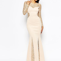 Sheer Lace Long Sleeve Evening Gown
