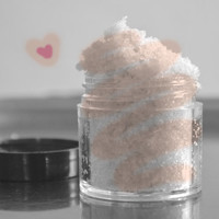 Homemade frosting lip scrub, sugar scrub with organic coconut oil, bath and beauty
